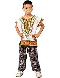 Lofbaz Niños tradicional de impresión de África Camisa Dashiki Unisex