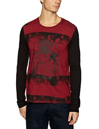 Kuyichi Engine Printed Men's T-Shirt Red Burgundy Small
