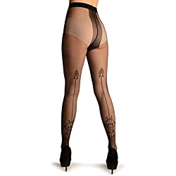Black With Vintage Elements Back Seam - Tights - Negro Medias Talla unica (34-38)