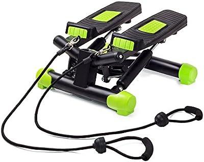 fitkraft Swing Stepper con ordenador y cuerdas negro de color verde