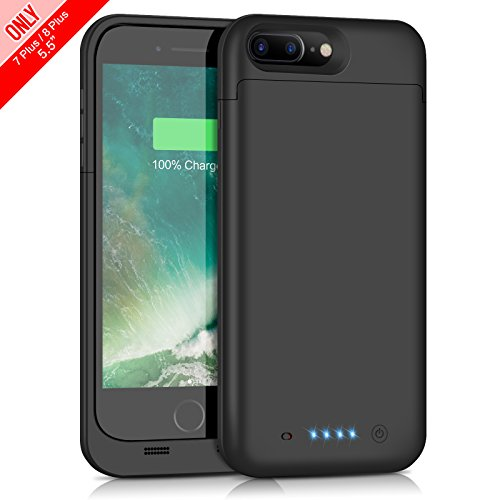Cover Batteria iPhone 8 Plus/7 Plus, iPosible 7000mAh Custodia Cover Protettiva con Batteria Esterna integrata Ricaricabile Power Bank Backup Battery Charger Case per Apple iPhone 8 Plus/7 Plus(5.5''- Nero)