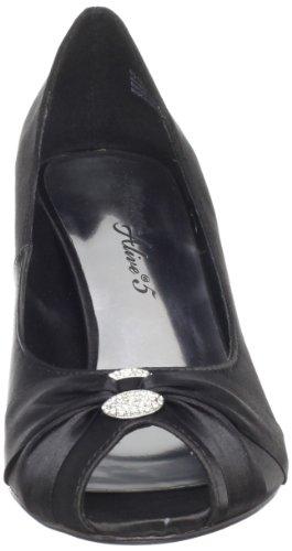 Do De Toe Rua Estreita Sol Estilete Imitação Peep Preto Sapatos De Couro Fácil 566qwU