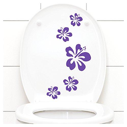 Grandora Klodeckel Aufkleber Hibiskusblüten I lavendel 5er Kreativset I Bad Blüten Blumen Hibiskus Aufkleber Wandaufkleber Wandsticker W916