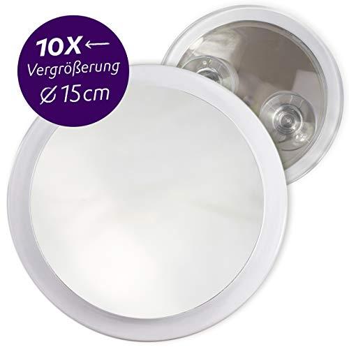 Fantasia Kosmetikspiegel mit 10-fach Vergrößerung, Premium Schminkspiegel Ø 15cm rund mit Saugnapf, Acryl Make-Up-Spiegel für zuhause und unterwegs