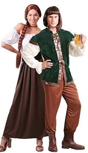 Fancy Me Paar Damen & Herren mittelalterlich Gastwirt Landlord Landlady Oktoberfest Bier Maiden Dienst Dirndel Robin Hood Kostüm Verkleidung Outfit - Mehrfarbig, UK 12-14 - Mens Large (Bier Maiden Outfit)