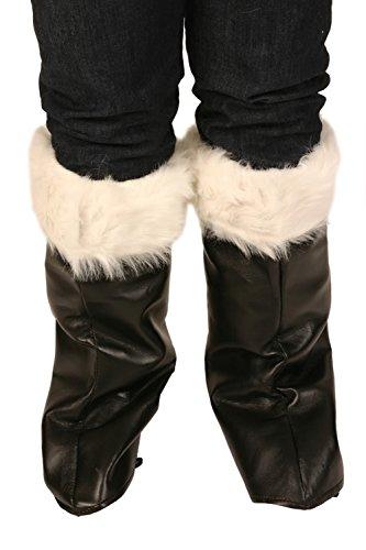 Weihnachten Kostüm - Weihnachtsmann Stiefel - Farbe Weiß Fell Manschettenknöpfe aus schwarzem PVC