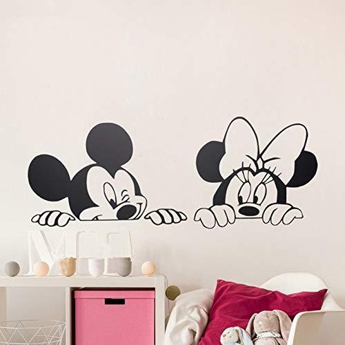 EdmendYang Cartoon Wandaufkleber Kinder Schlafzimmer Kunst Dekor Nette Mickey Minnie Maus Baby Kindergarten Kunst Vinyl Wandtattoos, 90X35 cm (Minnie Maus-kühlschrank)