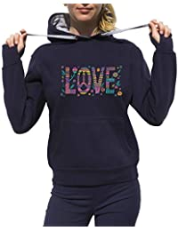 KrisTalas Sudadera con Capucha Mujer Flower Power Love Freedom Clothing Peace Hippie Thematic Outfit Dress Code
