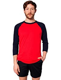 T-shirt Raglan Manches 3/4 en Poly-Coton - Red / Navy / L