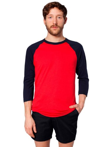 Red 3/4 Sleeve Top (American Apparel Poly-Cotton 3/4 Sleeve Raglan Shirt - Red / Navy / M)