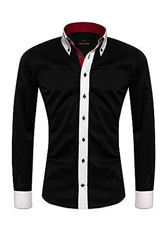 Giorgio Capone Herrenhemd, 100% Baumwolle, schwarz, Button-Down kragen, Langarm, Slim & Regular Fit (M (Easy Care Leinenhemd)