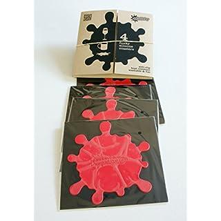Set of 4 RED Coasters Anti Slip Silicone & Box- FREE POST