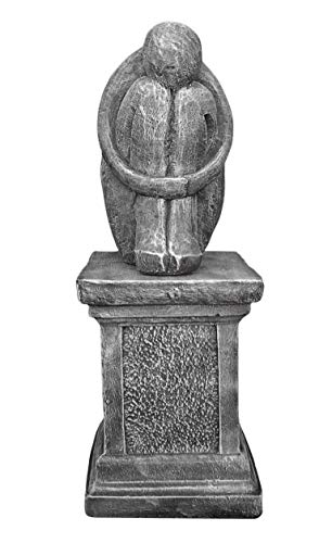 Steinfigur Single mit Säule Steinguss Schiefergrau