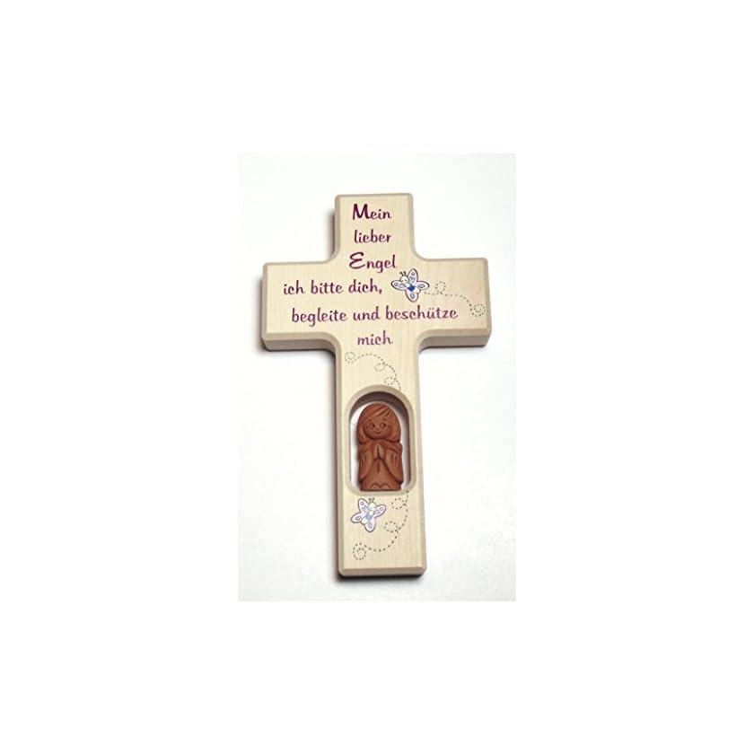 """Schutzengelkreuz, Taufkreuz, Kinderkreuz mit Schutzengel f. Mädchen """"Mein lieber Engel"""" 1"""