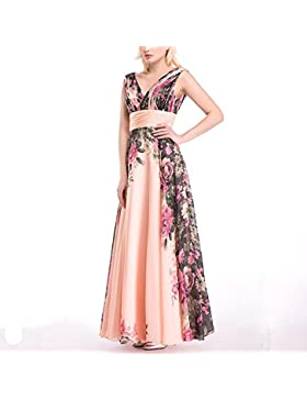 Lady Dresses elegante gasa vestido de novia de la boda sin mangas vestido de baile