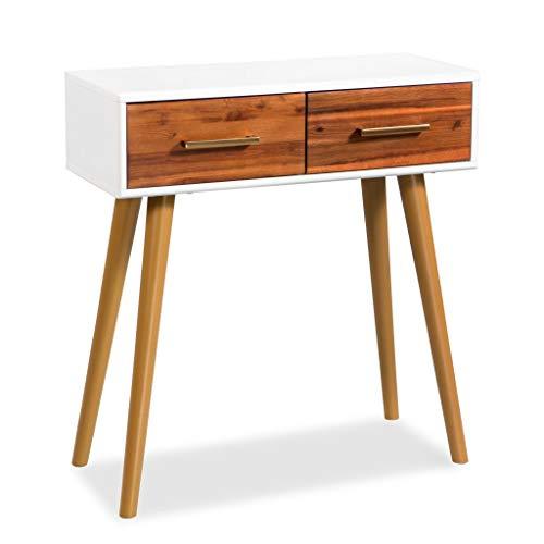 Festnight tavolo consolle moderno in legno massello di acacia con 2 cassetti 70x30x75 cm da salotto/sala da pranzo/ingresso