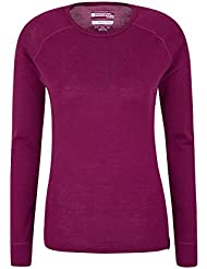 Mountain Warehouse Merino Womens Thermal Baselayer Top - Lightweight Tee Ladies Shirt, Breathable T Shirt, Antibacterial Blouse - For Holidays In Cold Weather
