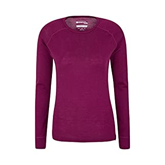 Mountain Warehouse Merino Womens Thermal Baselayer Top - Lightweight Tee Ladies Shirt, Breathable T Shirt, Antibacterial 18
