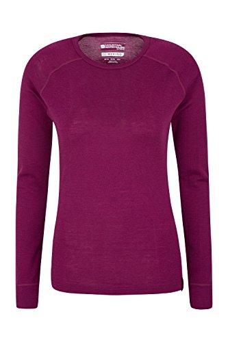 Mountain Warehouse sous-Vêtement Merino Thermique pour Femmes - T-Shirt pour Femmes Léger et Respirable, Haut antibactérien - pour Les Vacances par Temps Froid Rouge Cerise 38