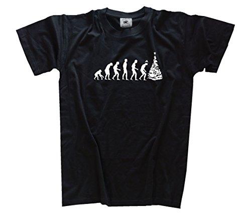 Shirtzshop–Maglietta da evoluzione, edizione standard Natale III Babbo Natale albero di Natale Xmas nero