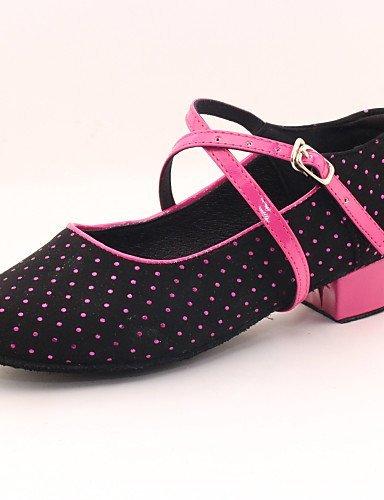ShangYi Chaussures de danse (Noir) - Non personnalisable - Talon plat - Flocage - Moderne