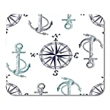 HOTNING Gaming Mauspad Vector Pattern with Anchors and Compass Perfect for Textiles Wallpaper 11.8x 9.8 Decor Office Non