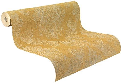 Rasch Tapeten Vinyl Papier, beige Ornamente auf Goldenem Grund mit textiler Struktur, Palace 2018, 516814