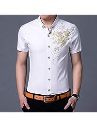 3b02dcd7f682 YAYLMKNA Camicia Camicie Eleganti da Uomo Camicia con Bottoni Stampati  Fantasia da Uomo