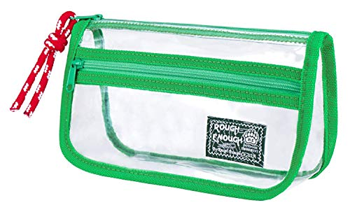 Rough Enough Clear Plastic Cute Pencil Case Pouch Organizer for Teen Boys Girls TSA Approved Travel Makeup Bag for Women Men with Zipper Front Pocket in Japanese Style (Womens Stationäre Set)