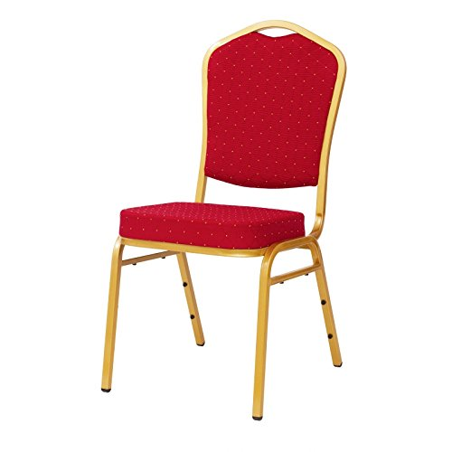 MEXTRA & KaRomBerlin Jeu de 20 & 40 Chaise empilable Alicante ST220 Livraison Inclusive. Salle Chaise Banquet empilable, Rouge/Or, Taille 40