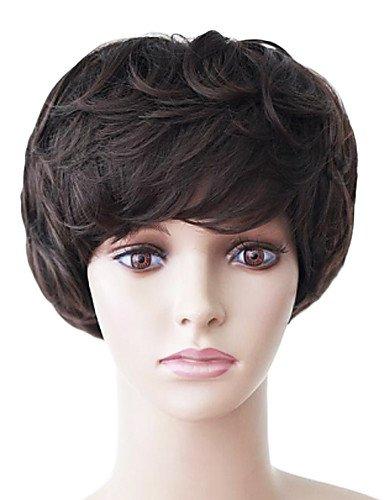 Hair Fashion Châtains incliné Bang tempérament courte perruque de cheveux bouclés