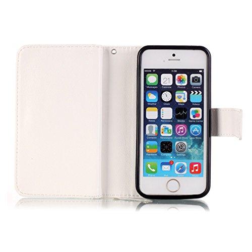 iPhone 5C Case Étui portefeuille en cuir PU pour, newstars Folio Étui à rabat pour Téléphone portable Motif amoureux d'Impression Mobile pour protéger la peau Téléphone Coque pour iPhone 5C en cuir  B White Flower Butterfly