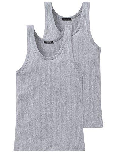 Schiesser Herren Unterhemd 2 er Pack 103401-202, Gr. 6 (L), Grau (202-grau-mel.)