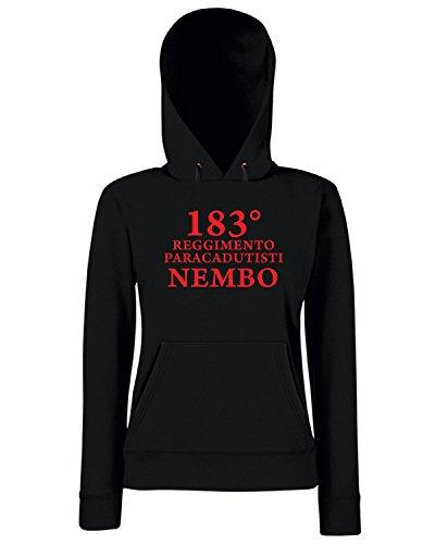 T-Shirtshock - Sweats a capuche Femme T0777B 183 reggimento paracadutisti Nembo Folgore militari Noir