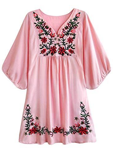 Doballa Damen Boho Tunika Hippie Kleid Gestickt Blumen Mexikanische Bluse Blume Kleid Kleider