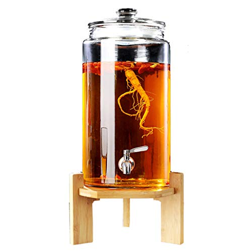 Dispensador de vino de cristal de cacao con soporte y grifo – entretenimiento cocina de cristales de cocina hervidor para zumos y bebidas – cobre, acero inoxidable y base de madera pura 5 L #2