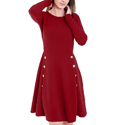 VENMO Frau Langärmliges lockeres Hemdkleid Button Trim Bluse Einfarbig Rundhals-Kleid kleid damen Minikleid Lässig Lose Kurz Hemdblusenkleid Tunika Bluse Langarm Hemd Longshirt Top (Wine Red, XL) (Cami Lace Chiffon Trim)