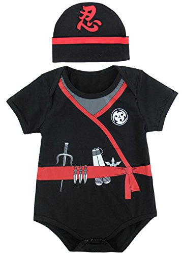 Mombebe Body de Ninja de bébé garçon avec Chapeau (6-12 Mois, Ninja)