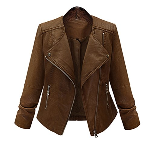 5 ALL Damen Frauen Herbst Bikerjacke Beiläufige Braun Langarm Umlegekragen Faux Lederjacke Schlank Mantel Reißverschluss Kurzjacke Jacket (Leder Jacke 50er Jahre)