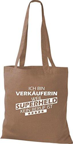 Shirtstown Stoffbeutel Ich bin Verkäuferin, weil Superheld kein Beruf ist hellbraun