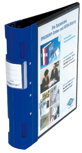 Wedo 5818003 Ordner Ergogrip Präsentationsordner (A4, 4-Ringmechanik, Kunststoff, 31,3 x 5,6 x 28,0 cm) schwarz/blau (Präsentationsmappen Blaue)