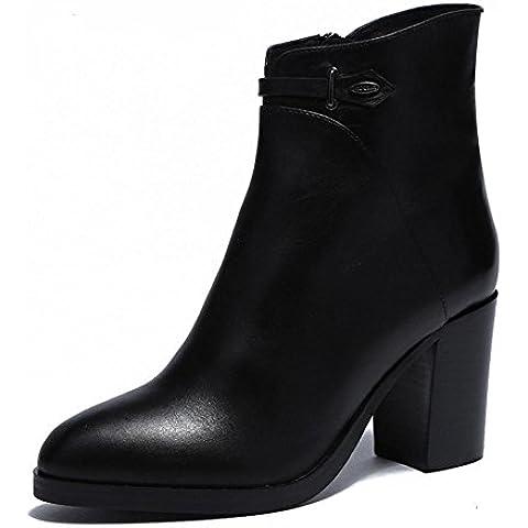Ladies in pelle inverno stivali punta le dita dei piedi Chunky tacchi stivali Classic Fashion Lady , black , 36