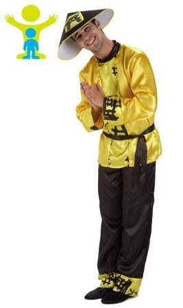 Mandarin Chinese Kostüm - EL REY DEL CARNAVAL, SL Chinese Yao-Kostüm für Erwachsene Einheitsgröße