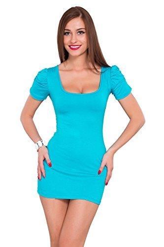 Futuro Fashion été Femmes robe Mini avec matelassé Manche Courte Col Carré Moulante Tunique Unique Tailles 8-14 UK 0186 Aqua