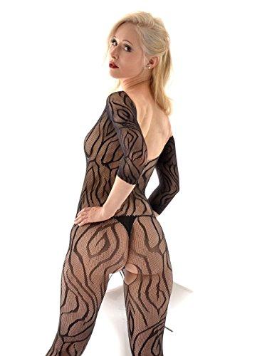 DearL Netz Bodystocking langärmelig schwarz Zebra Wellen Muster ouvert Schritt (Zebra Catsuit)