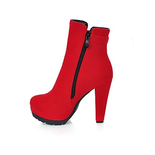 VogueZone009 Damen Hoher Absatz Nubukleder Wasserdicht Plattform Stiefel Rot