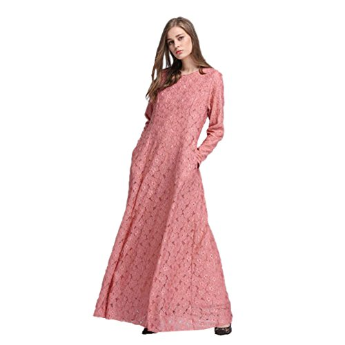Meijunter Femme Musulman Abaya Dress Islamic Manche longue Dentelle Fête Maxi Dress Vêtements Robes pink