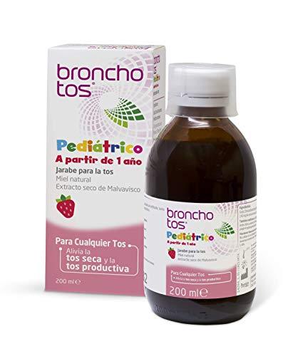 Bronchotos Pediátrico – Jarabe tos seca y productiva. Niños partir de 1 año. Sin Lactosa. Sin Gluten. Sabor fresa.