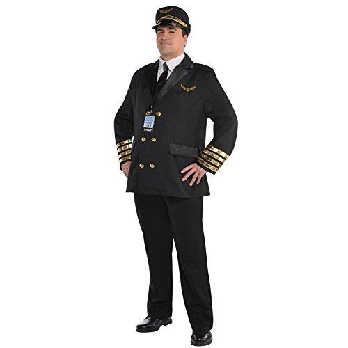 Land Size Plus Kostüme (Erwachsene Christys Verkleidung Piloten Kapitän Wingman Fluglinie Herren Uniform Kostüm - Gold, Plus Size)