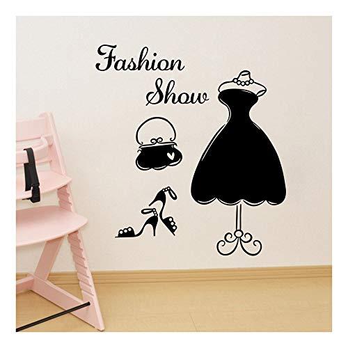 QTZJYLW Personalisierte Wand Aufkleber Schwarz Hochzeitskleid High Heels Brief Kleiderschrank...
